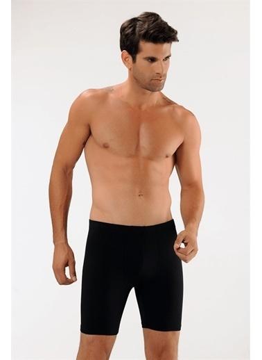 Obje Pamuklu Uzun Boxer Siyah